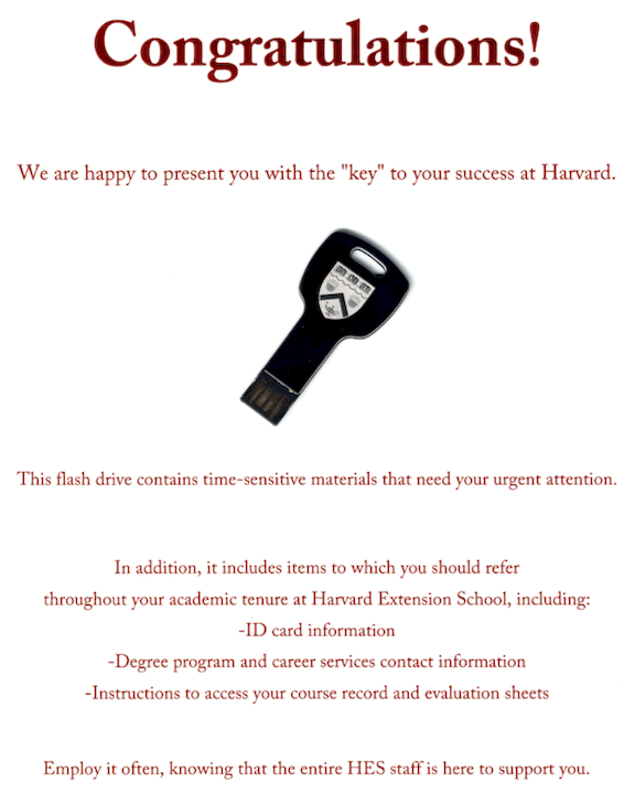 Congratulations! (Harvard Admissions USB Key)