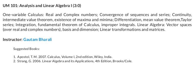 Analysis and Linear Algebra - 1 | Saraswat Bhattacharyya