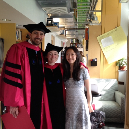 Graduation 2015: Nick Schade, Sofia Magkiriadou, and Victoria Hwang in the lab office (May 28, 2015. photo credit V. R. Horowitz)