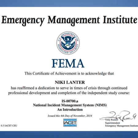 FEMA National Incident Management System (NIMS)