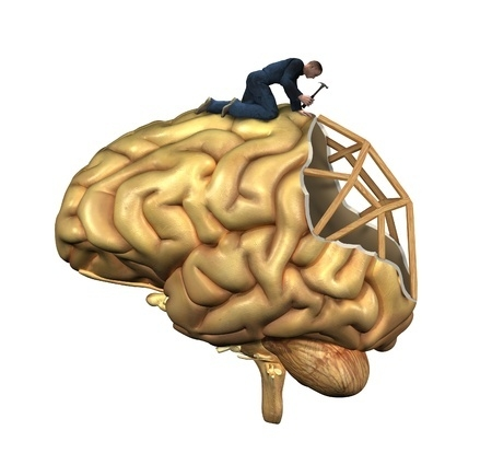 Cartoon of man constructing a brain