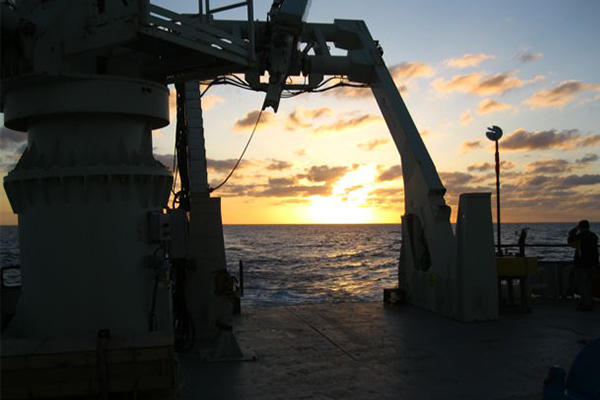 ocean sunset view from a ship
