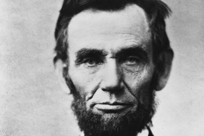 Photo courtesy of the Library of Congress. A detail from a famous photograph of President Abraham Lincoln.
