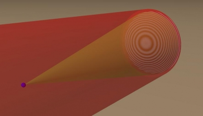 Light scatters off a particle, and an interference pattern i.e. hologram is created.