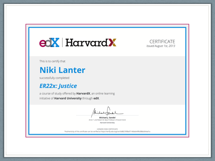 edX Honor Certificate for Justice ER22x from HarvardX
