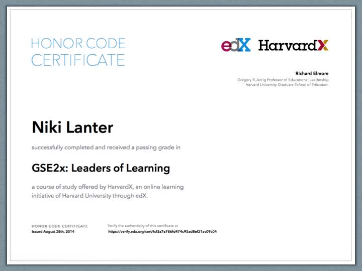 edX Honor Certificate for Leaders of Learning GSE2x from HarvardX