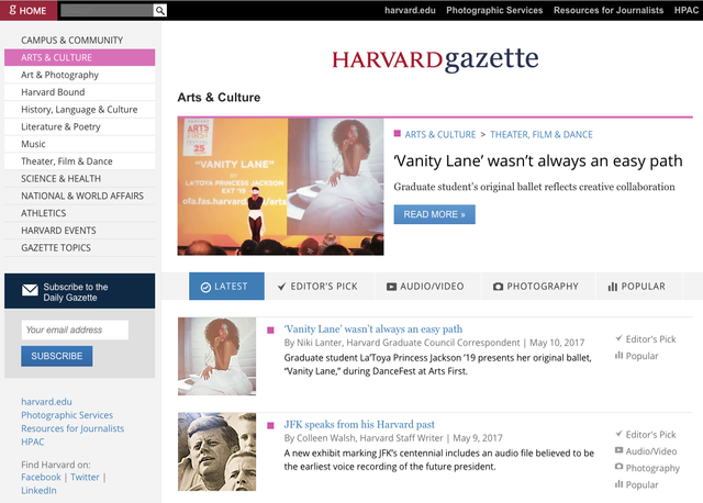 Harvard Gazette Vanity Lane Article Editors Pick and Popular
