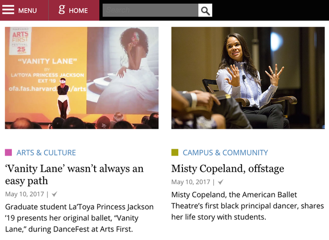 Harvard Gazette Vanity Lane and Misty Copeland Articles