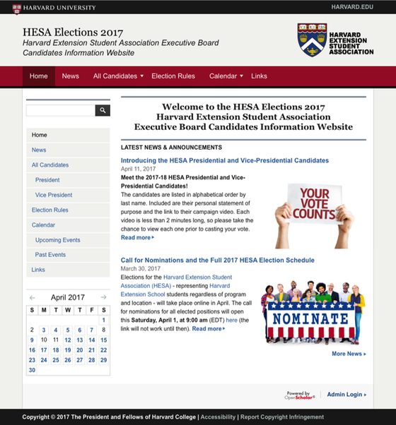 HESA Elections 2017 Website
