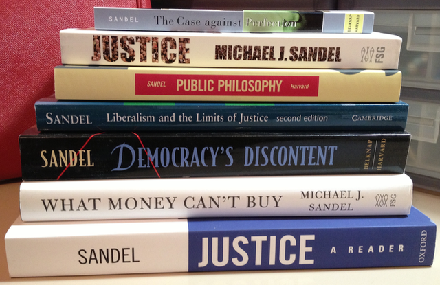 Sandel Justice Books Stacked