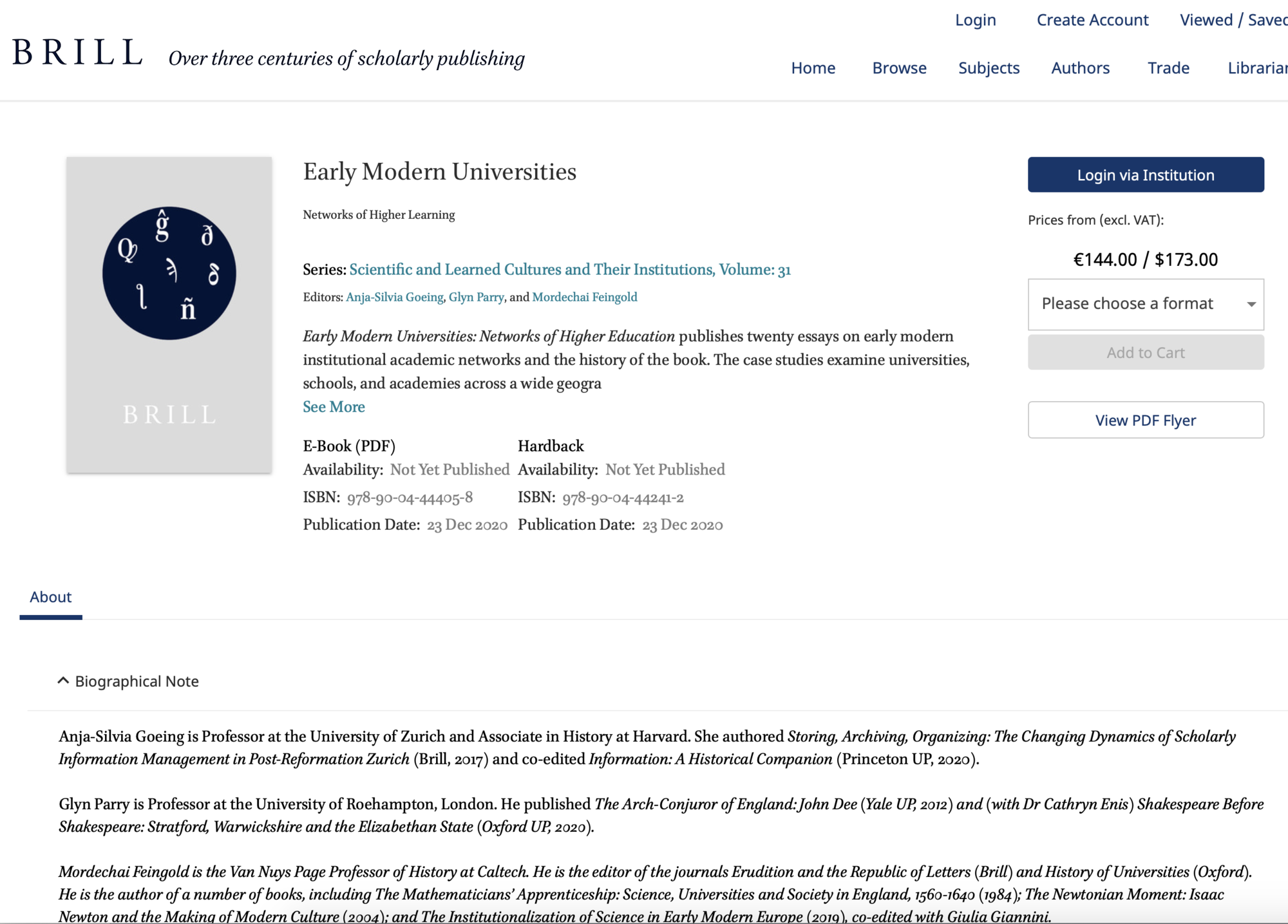 Early Modern Universities: Networks of Higher Learning (2021)