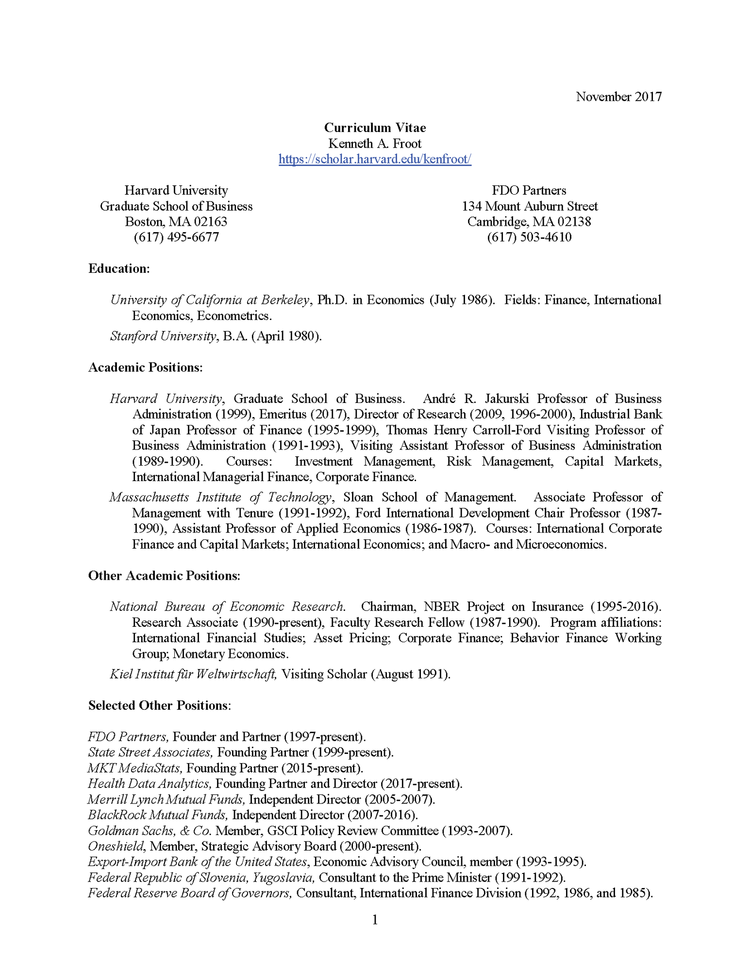 Curriculum Vitae | Kenneth A. Froot
