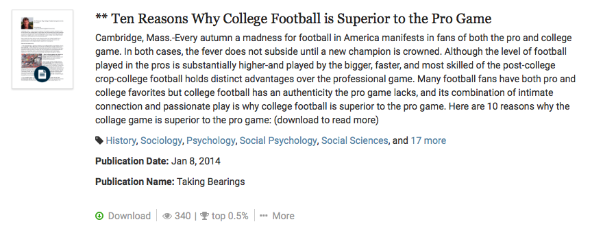 Ten Reasons Why College Football is Superior to the Pro Game