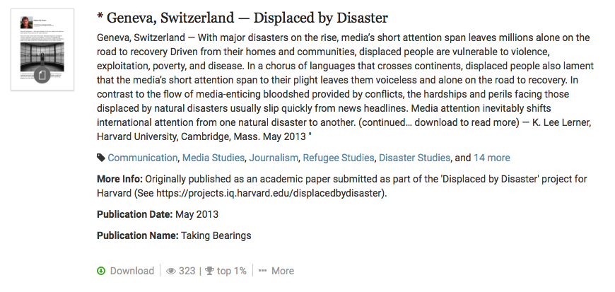 Geneva -- Displaced by Disaster