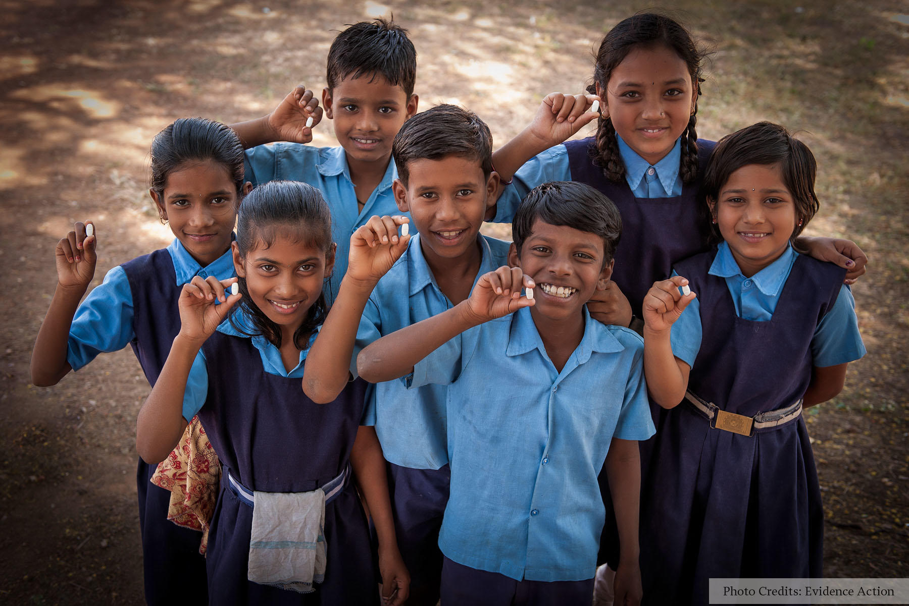 Children with deworming medication.