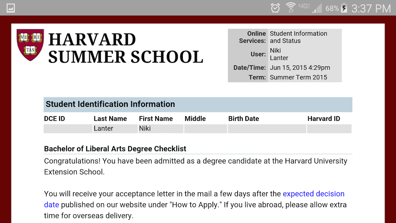 Admitted as Degree Candidate (Screenshot)