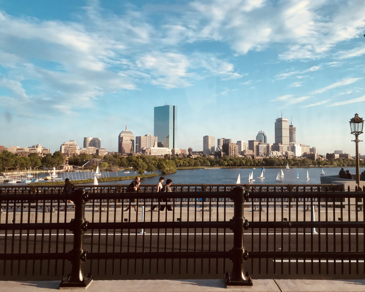 Boston view from a moving train on the Red Line
