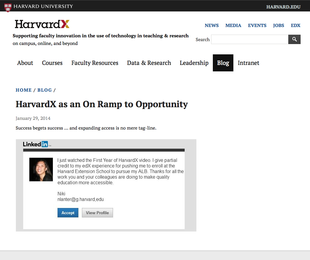 HarvardX On Ramp to Opportunity