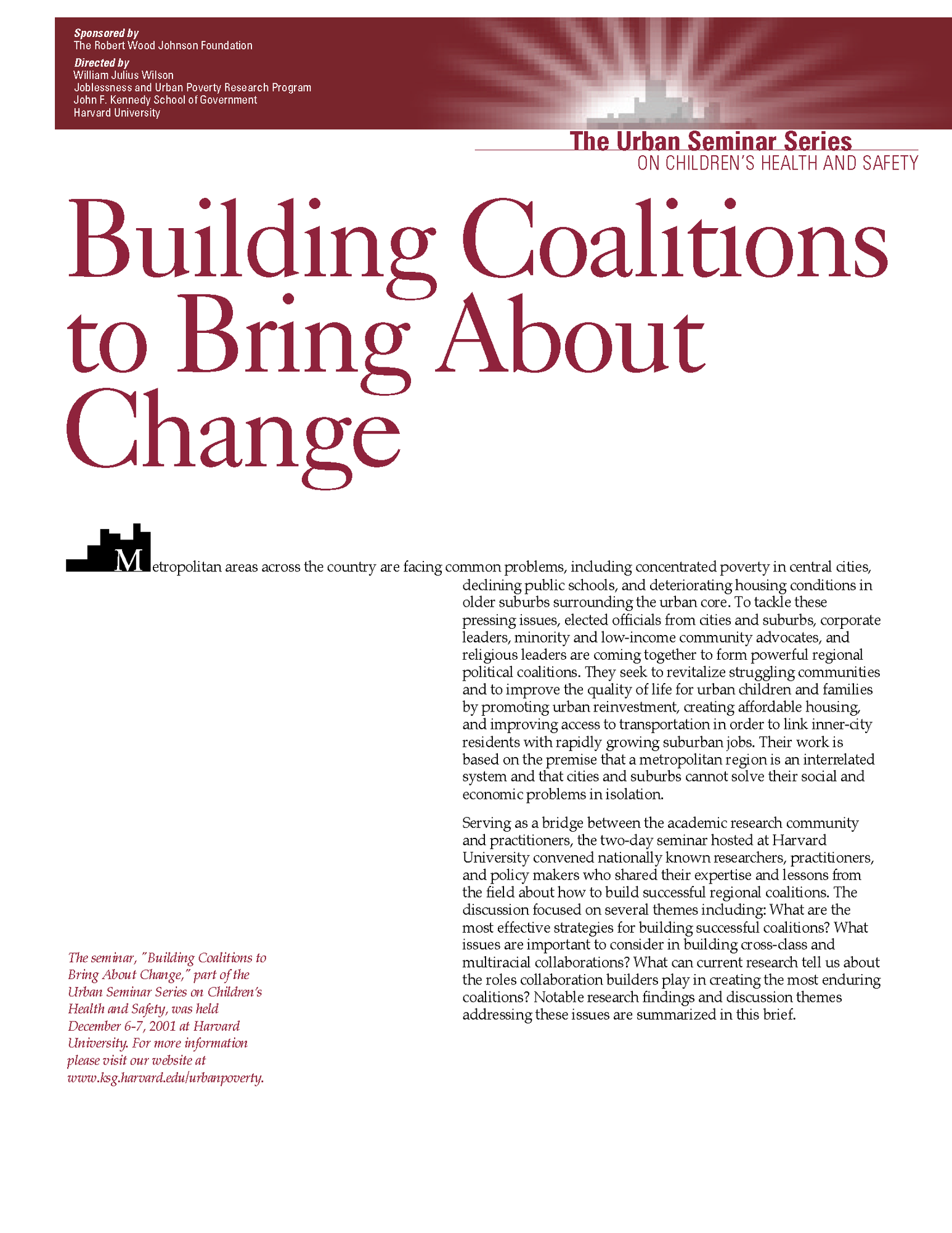 Building Coalitions to Bring About Change, December 2001