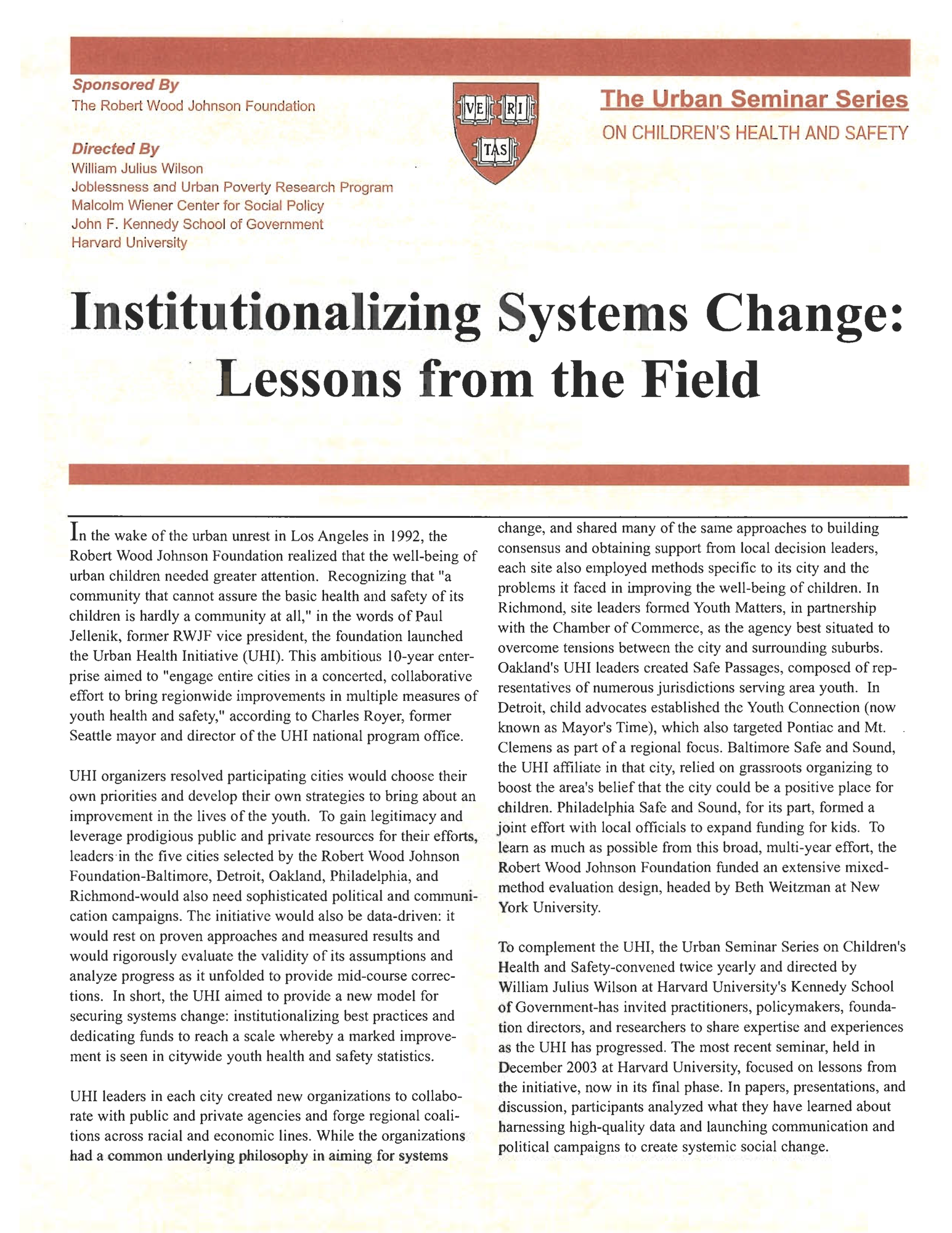 Institutionalizing Systems Change: Spotlight on the Sites, December 2003