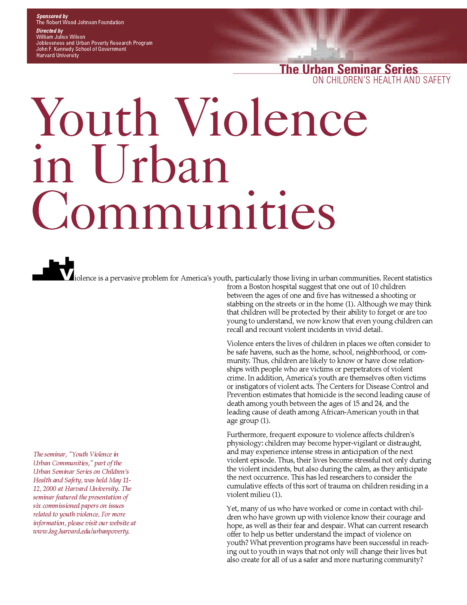 Youth Violence in Urban Communities, May 2000