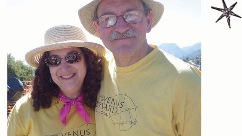 Ken and Sara at Transit of Venus on Mt Wilson, 5 June 2012, wearing our T-shirts from the Harvard event in 2004.