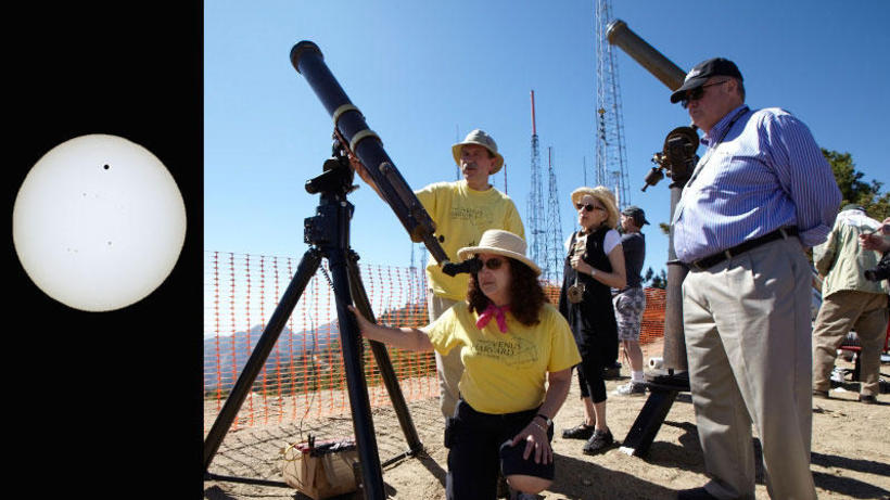 Observing Transit of Venus at Mount Wilson, 5 January 2012 with Dava Sobel, author, and Hal McAlister, observatory director.