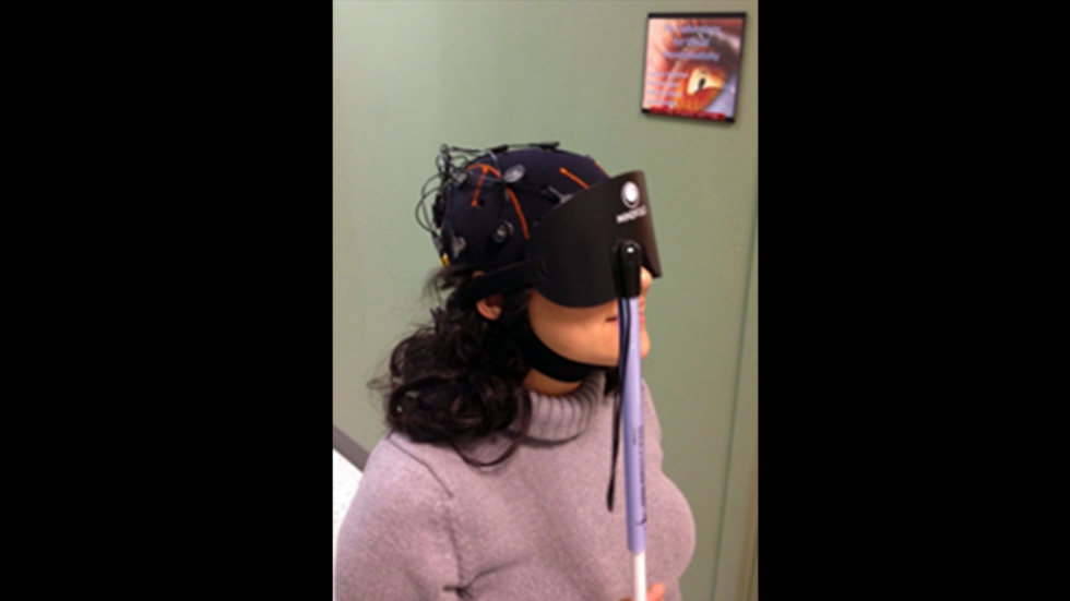 Example of subject using mobile wireless electroencephalogram (EEG) allows recording of brain signals during navigation.