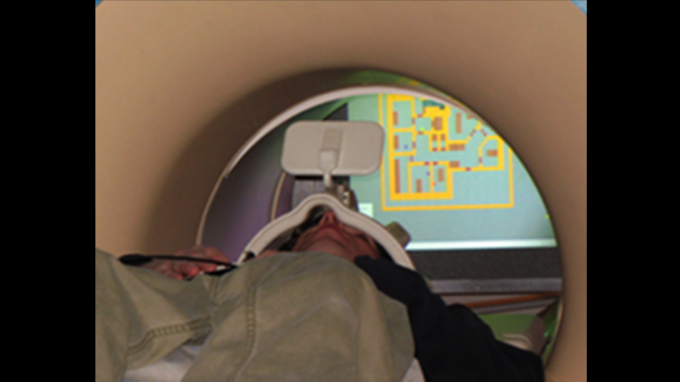Individual laying in an MRI  scanner playing the AbES game