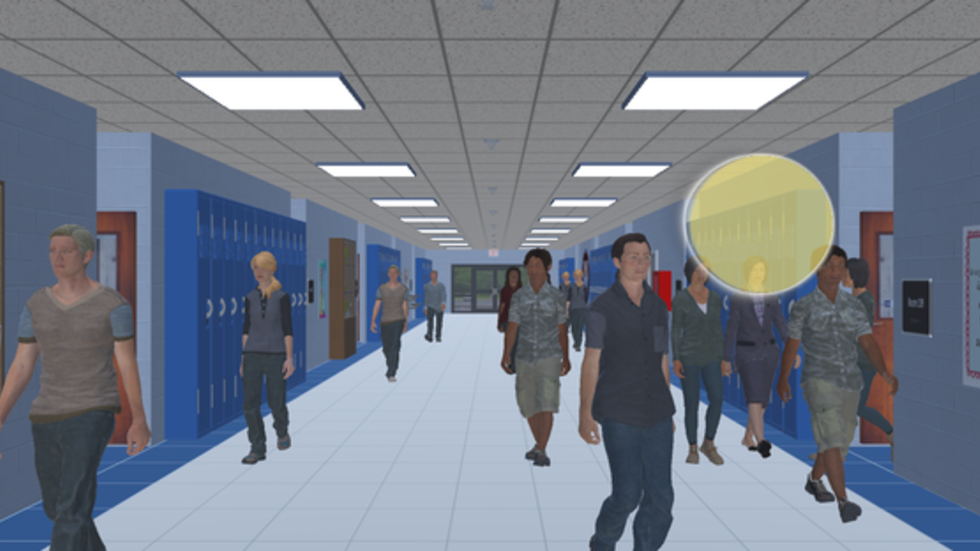 Example of the Virtual Hallway, medium complexity with clutter
