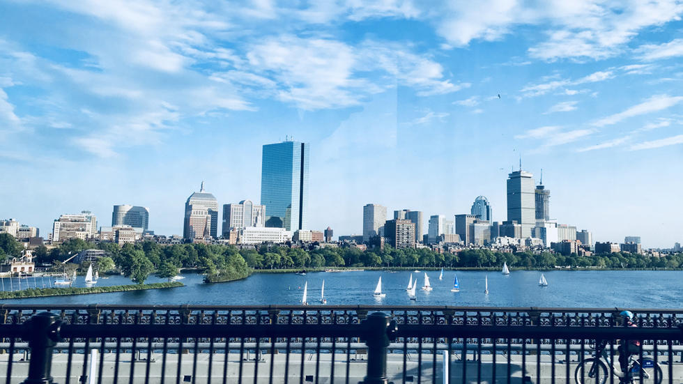 Beautiful Boston Day (Cool) View from a Moving Train (The Red Line)