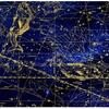 A photo of an astrological chart showing the constellations in blue and gold