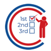 "The symbol is two concentric ""C""s in our shades of blue and red, a series of voting ranks, and a person pointing at their top-ranked preference. The name is underlined in red and written in a serif font in blue with ""voters"" fully capitalized."